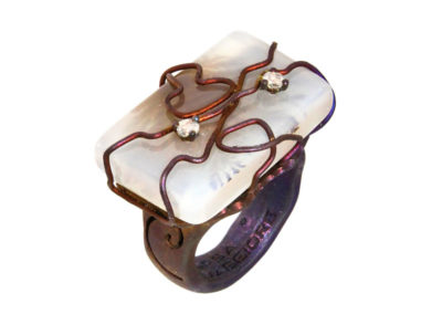 rectangular musk agate ring