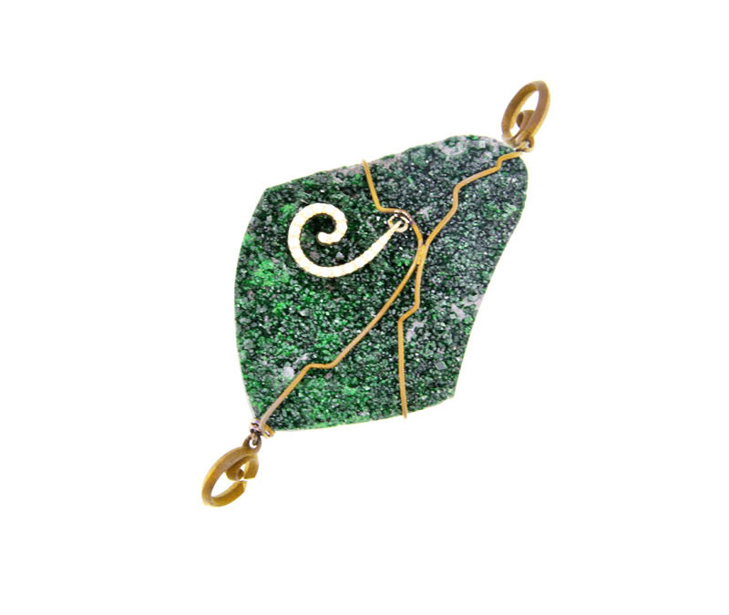 uvarovite garnet pendant golden finish