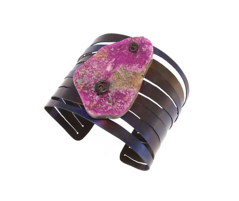 cobaltian calcite bracelet golden blue finish