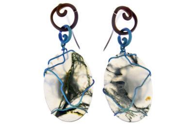 merak - musk agate earrings ovals pic1