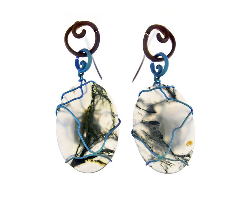 musk agate earrings ovals