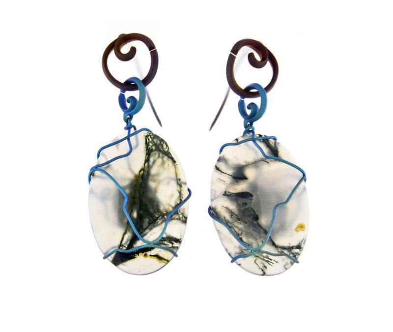 musk agate earrings ovals