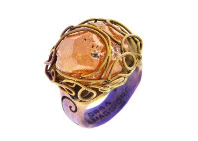 spessartite ring golden blue satin