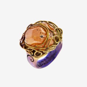 merak - spessartite ring golden blue satin pic2