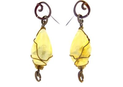 yellow opal earrings