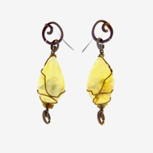 merak - yellow opal earrings pic2