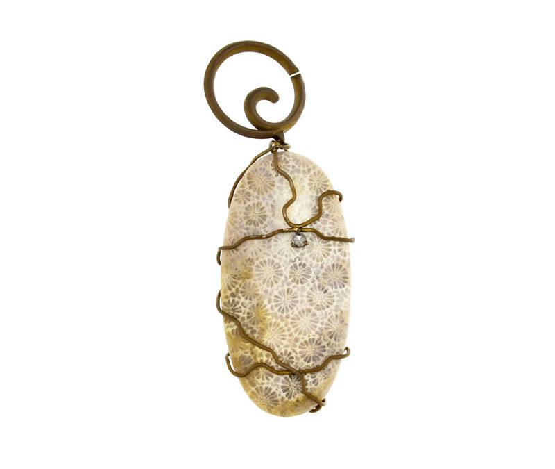 fossil white coral pendant