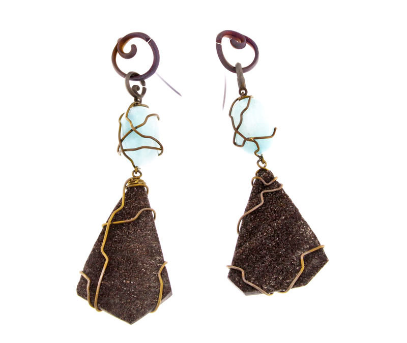 fossil wood and blue aragonite earrings