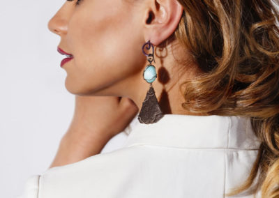 merak - fossil wood and blue aragonite earrings pic3