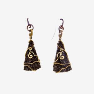 merak - fossil wood earrings pic2