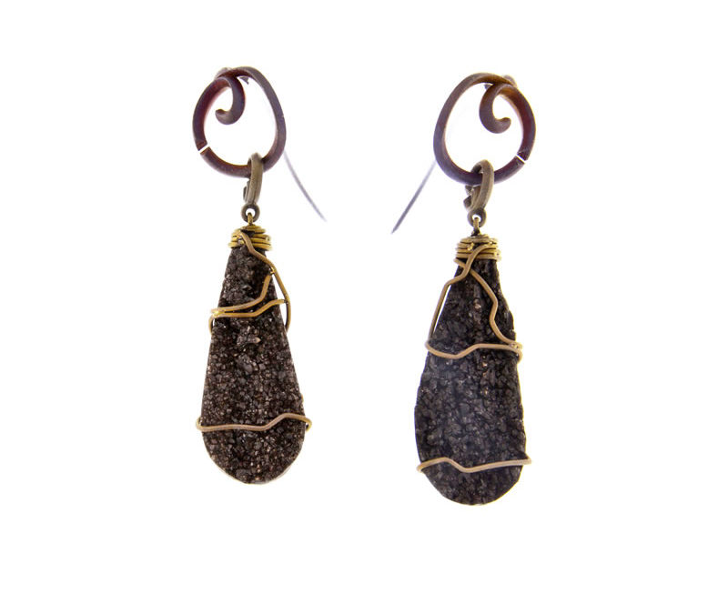 fossil wood earrings with golden finish