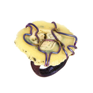 mizar - agate ring golden blue satin pic1