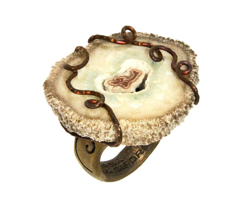 agate ring golden satin
