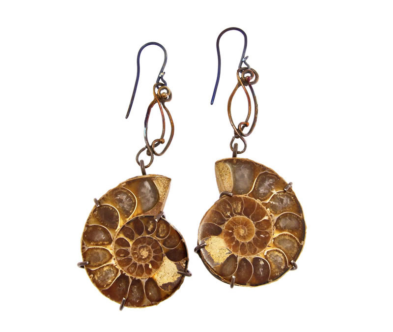 ammonite fossils earrings